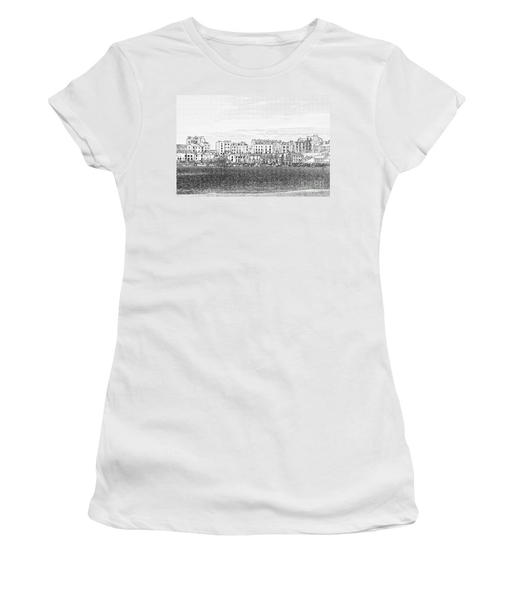 Tenby Women's T-Shirt (Athletic Fit) featuring the photograph Evening Sunshine Over Tenby by Steve Purnell
