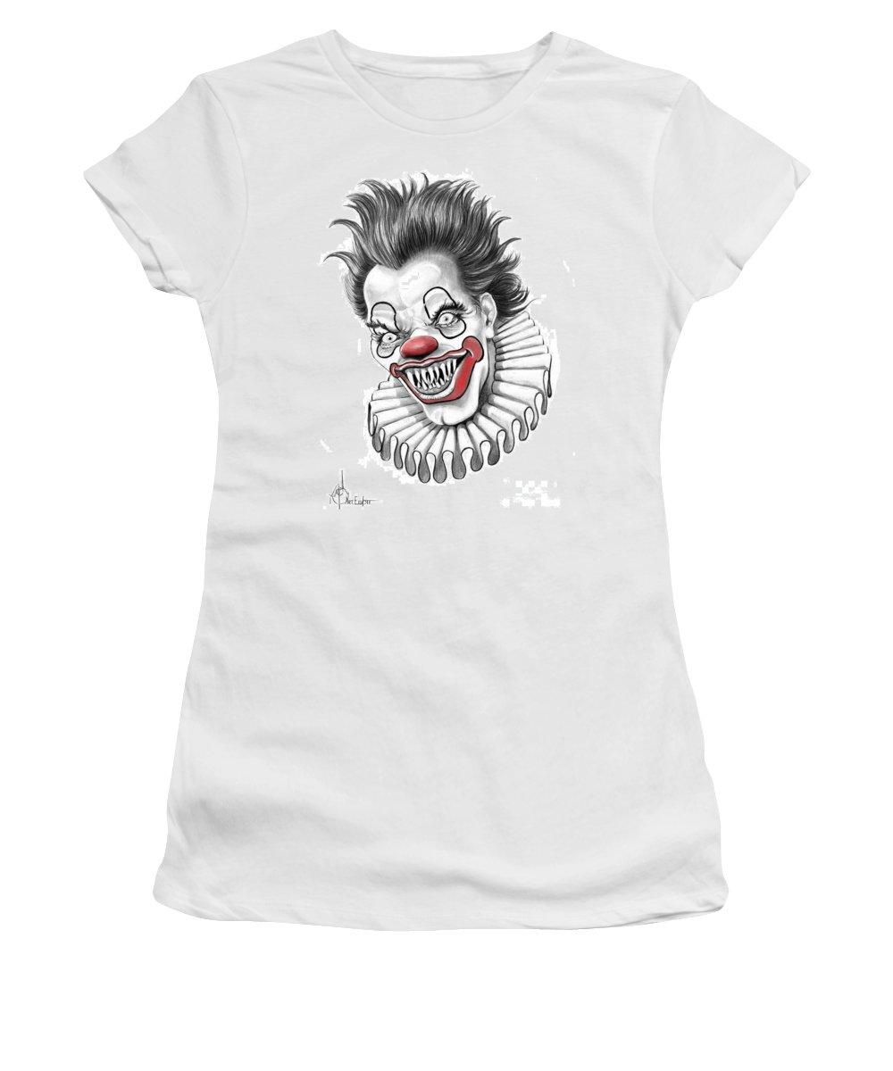 Pencil Women's T-Shirt featuring the drawing Evil Clown by Murphy Elliott