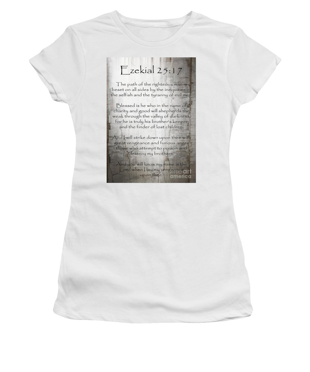 Ezekial 25:17 Women's T-Shirt (Athletic Fit) featuring the painting Ezekial 25 17 by Roz Abellera
