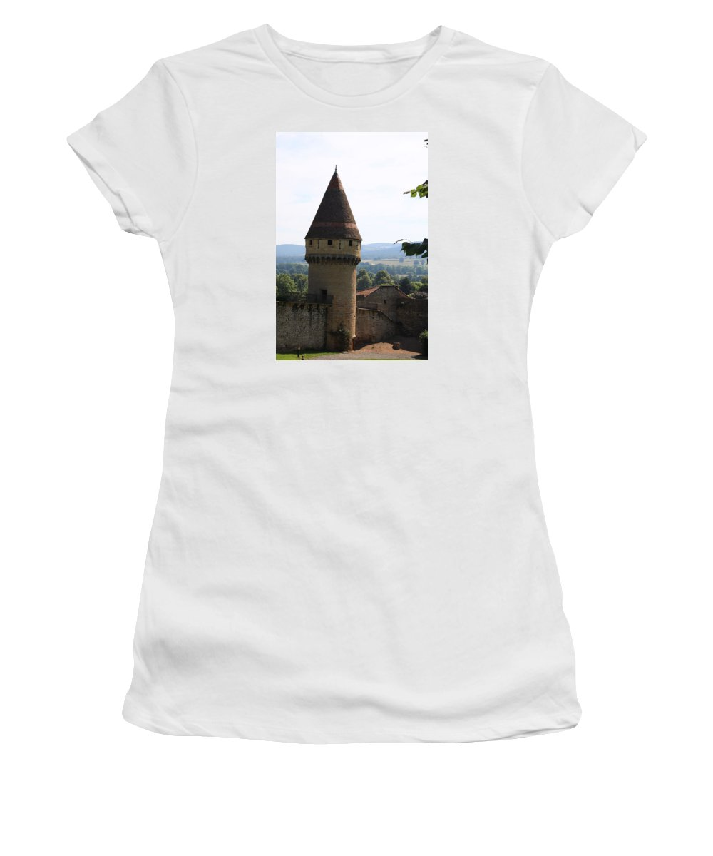 Watch Tower Women's T-Shirt (Athletic Fit) featuring the photograph Fabry Tower - Cluny - Burgundy by Christiane Schulze Art And Photography