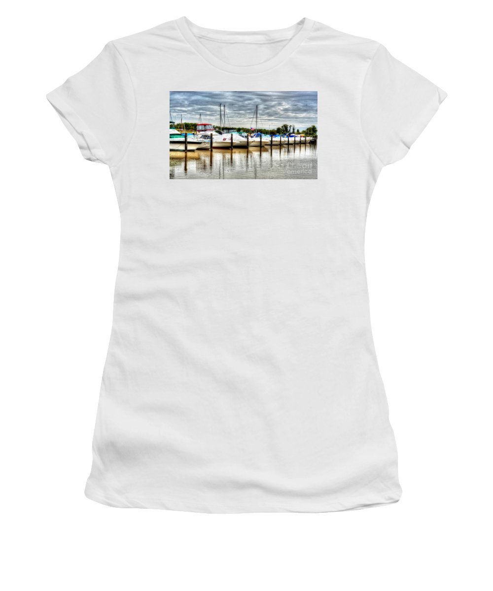 Boats Women's T-Shirt (Athletic Fit) featuring the photograph Fah Get A Boat It by Debbi Granruth