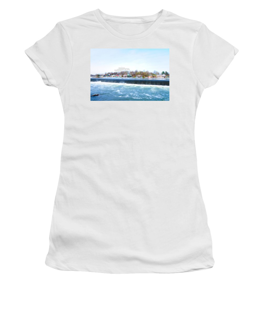 Fairmount Dam Women's T-Shirt (Athletic Fit) featuring the photograph Fairmount Dam And Boathouse Row In Philadelphia by Bill Cannon