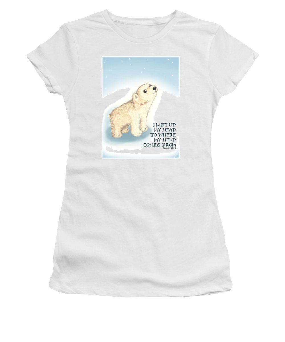 Polar Bear Women's T-Shirt (Athletic Fit) featuring the digital art Faith by Jerry Ruffin