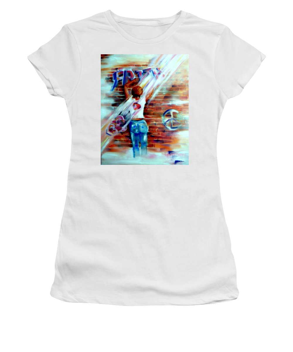 Orayers Women's T-Shirt featuring the painting Faith...within Reach by Sandy Ryan