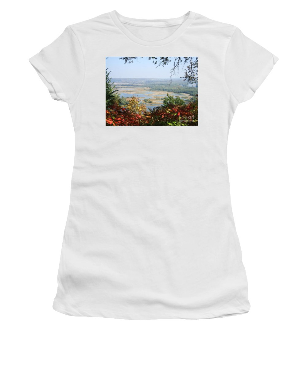 Trees Leaves Women's T-Shirt (Athletic Fit) featuring the photograph Fall Framed Islands by Minding My Visions by Adri and Ray