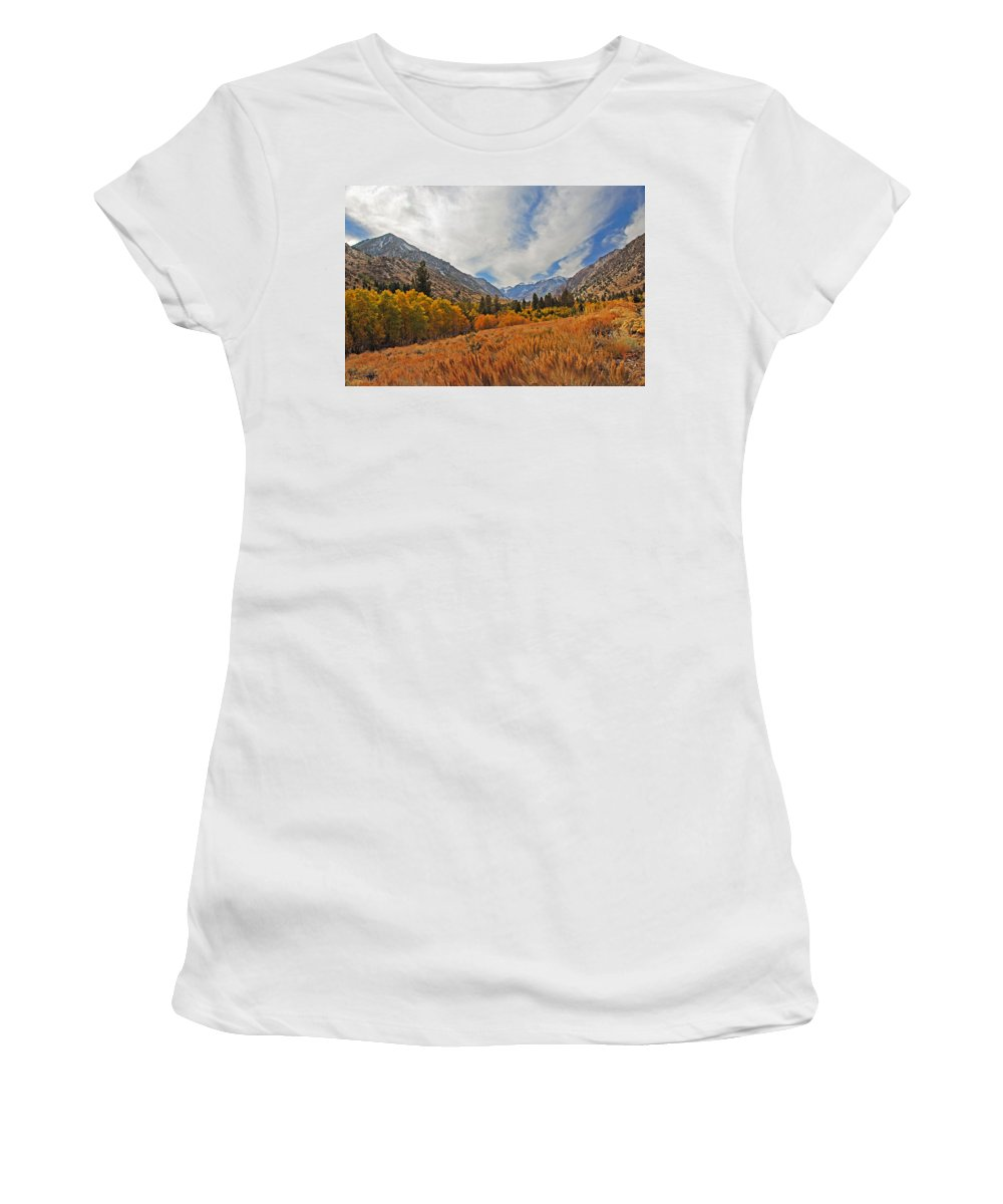 Fall Women's T-Shirt (Athletic Fit) featuring the photograph Fall In Lundy Canyon by Lynn Bauer
