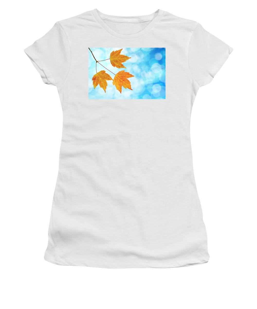 Fall Women's T-Shirt (Athletic Fit) featuring the photograph Fall Maple Leaves Trio With Blue Sky by Jit Lim