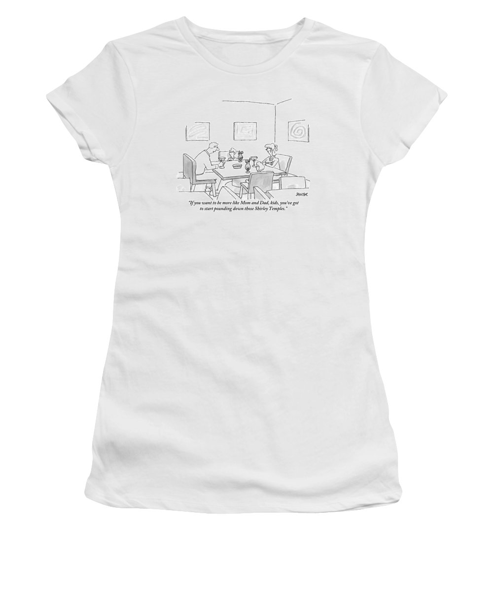 Parents Women's T-Shirt featuring the drawing Family Around Table by Jack Ziegler