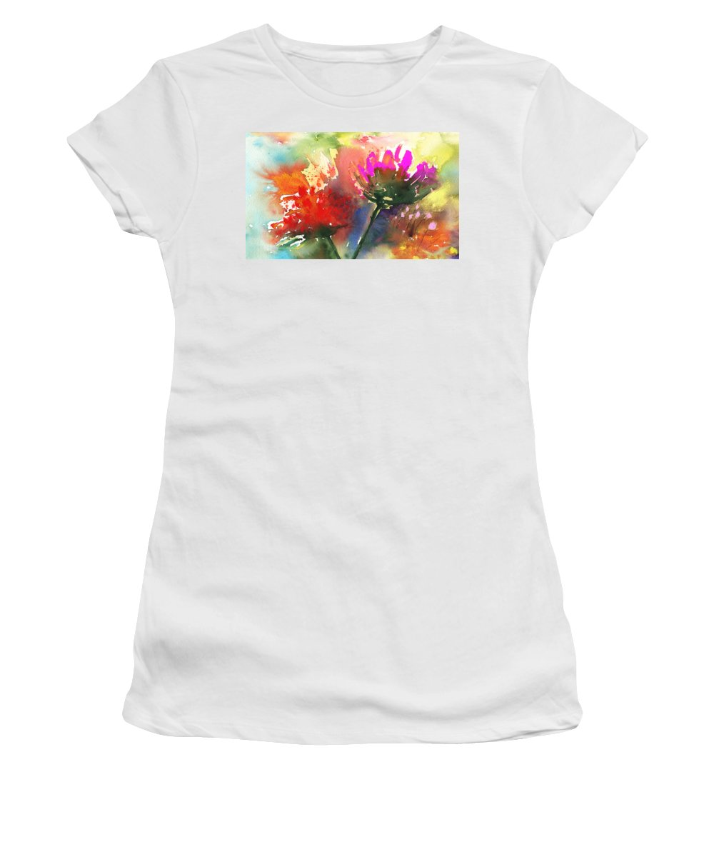 Flowers Women's T-Shirt (Athletic Fit) featuring the painting Fantasy Flowers by Miki De Goodaboom