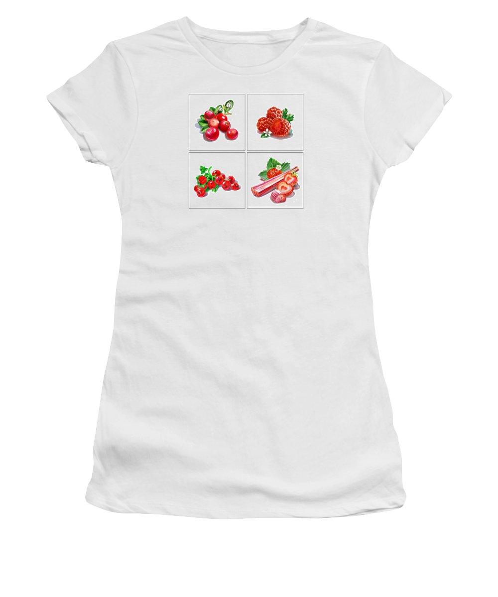 Cranberry Women's T-Shirt featuring the painting Farmers Market Gifts Red Vitamins by Irina Sztukowski
