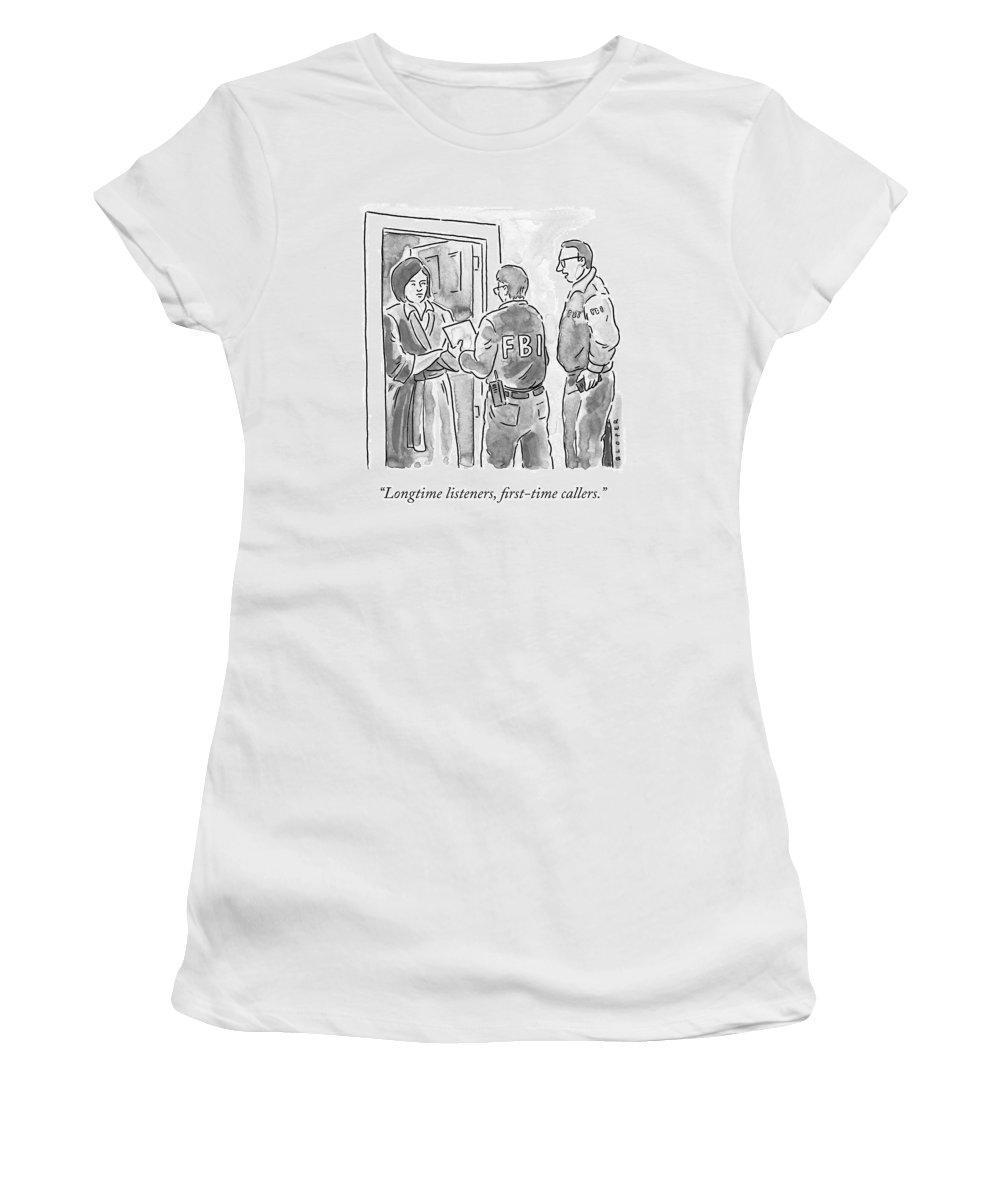 Fbi Women's T-Shirt featuring the drawing Fbi Agents At A Woman's Door by Brendan Loper