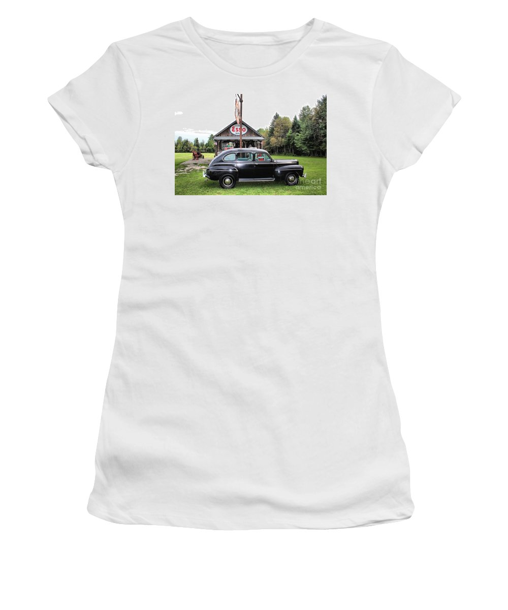 Ferland's Service Station Women's T-Shirt (Athletic Fit) featuring the photograph Ferland's_1138 by Joseph Marquis