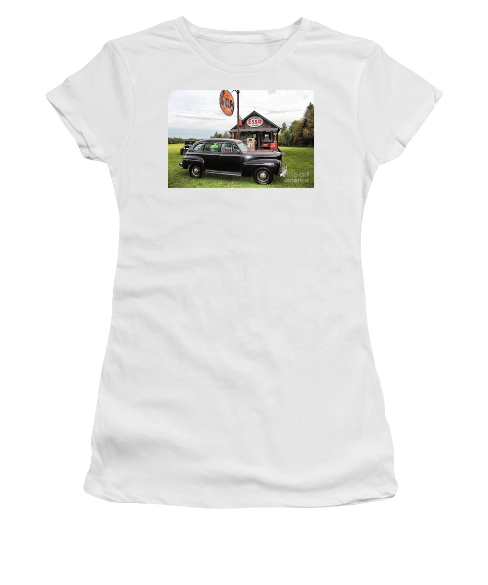 Ferland's Service Station Women's T-Shirt (Athletic Fit) featuring the photograph Ferland's_1142 by Joseph Marquis