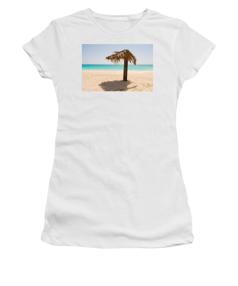 Antigua And Barbuda Women's T-Shirt featuring the photograph Ffryers Beach Hut by Ferry Zievinger