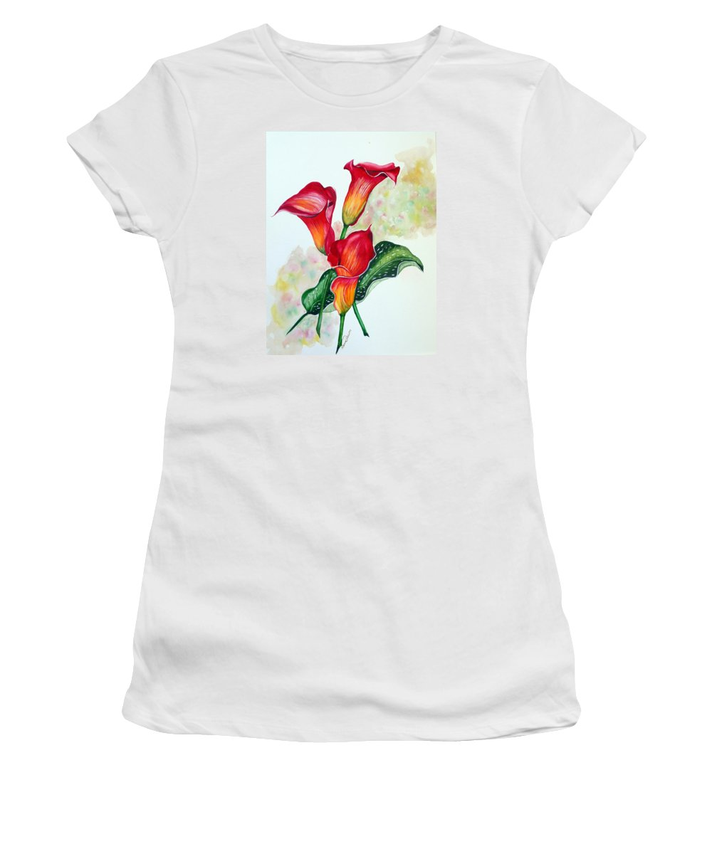 Floral Lily Paintings Flower Paintings Red Paintings Orange Paintings Calla Lily Paintings Tropical Paintings Caribbean Paintings  Greeting Card Paintings Canvas Paintings Poster Paintings Women's T-Shirt (Athletic Fit) featuring the painting Fiery Callas by Karin Dawn Kelshall- Best