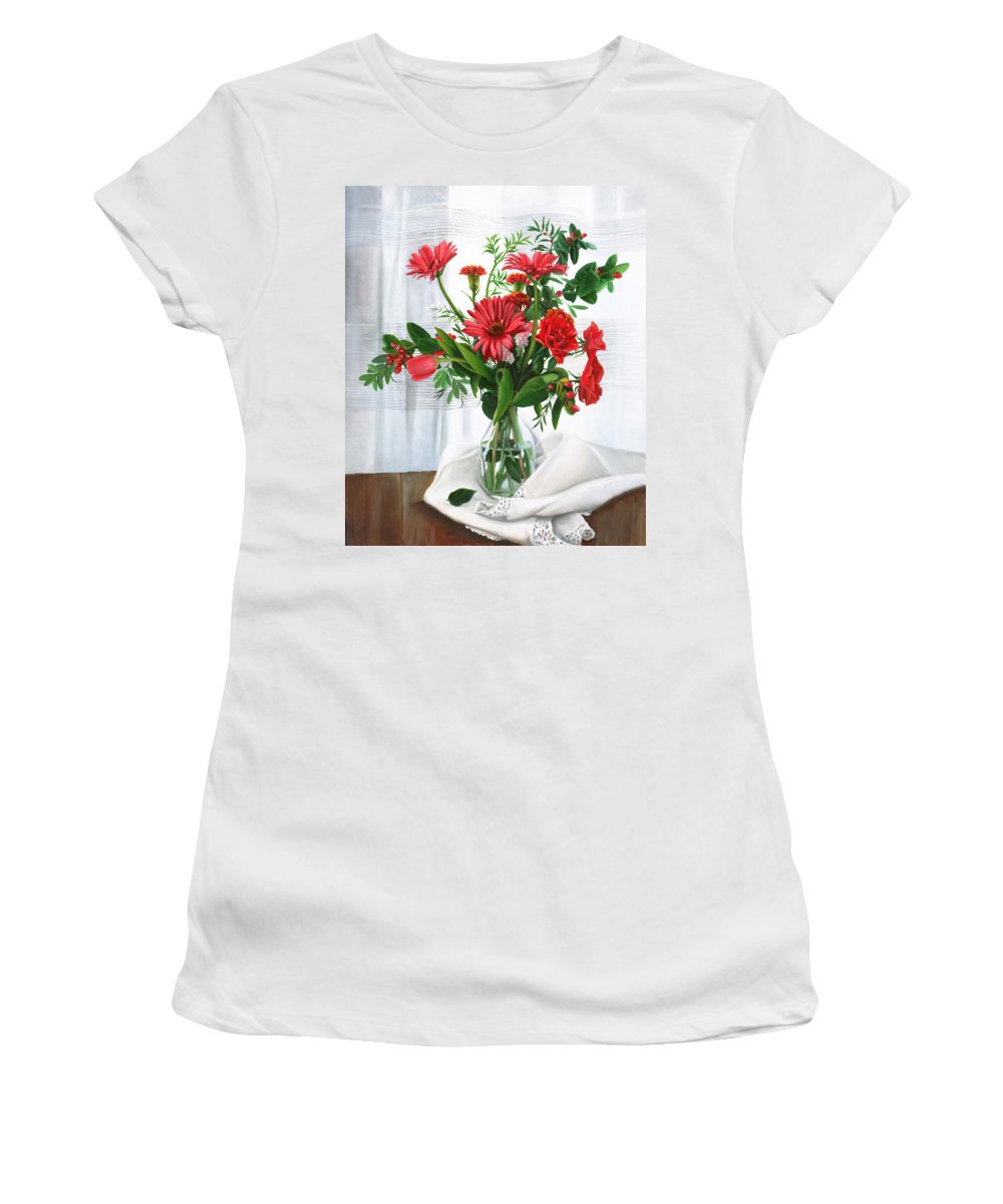 Still Life Women's T-Shirt featuring the painting Fiori Rossi by Danka Weitzen