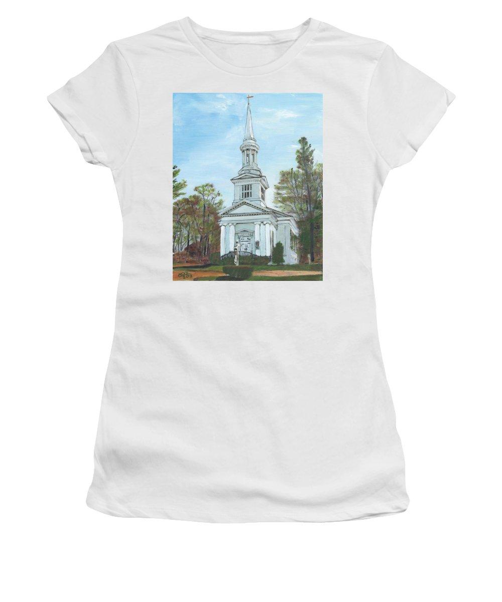 Sandwich Women's T-Shirt featuring the painting First Church Sandwich Ma by Cliff Wilson