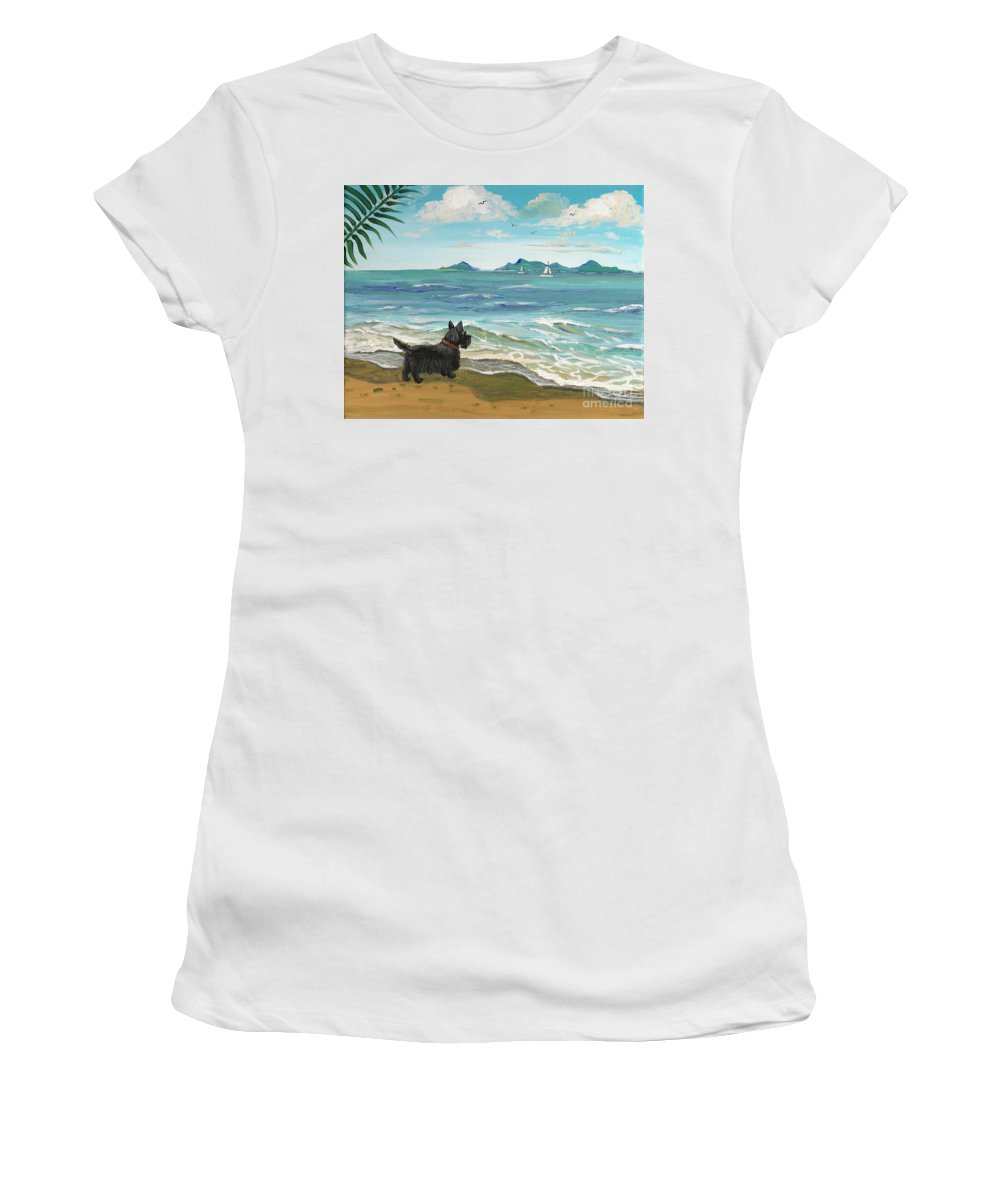 Painting Women's T-Shirt (Athletic Fit) featuring the painting First Day Of Vacation by Margaryta Yermolayeva