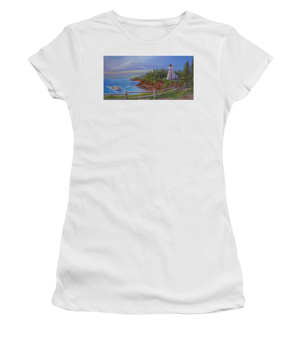 Lighthouse Women's T-Shirt (Athletic Fit) featuring the painting First Haul by Lorraine Vatcher