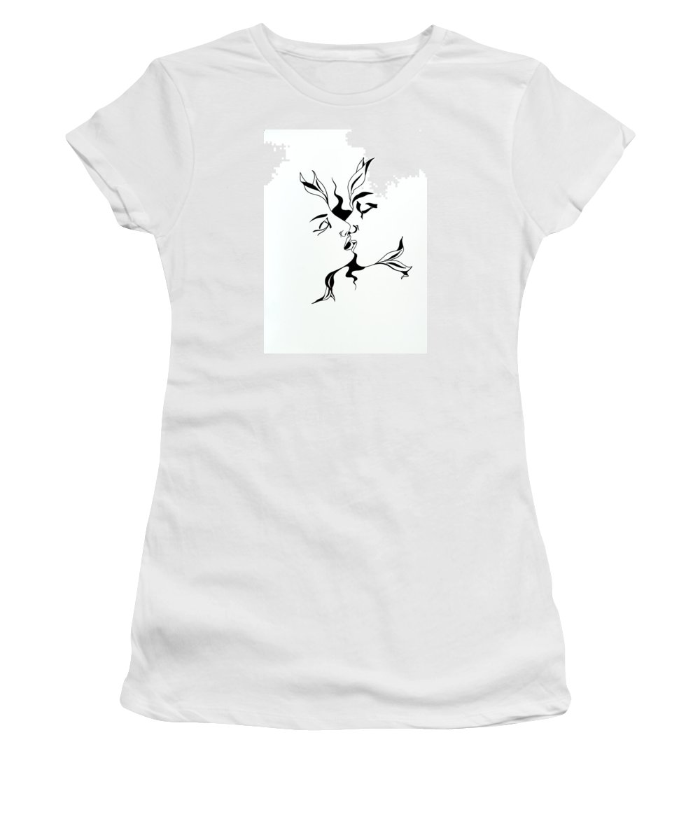Love Women's T-Shirt (Athletic Fit) featuring the drawing First Kiss by Yelena Tylkina