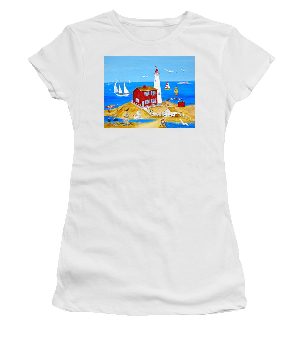 Fisgard Lighthouse Women's T-Shirt (Athletic Fit) featuring the painting Fisgard Lighthouse by Virginia Ann Hemingson