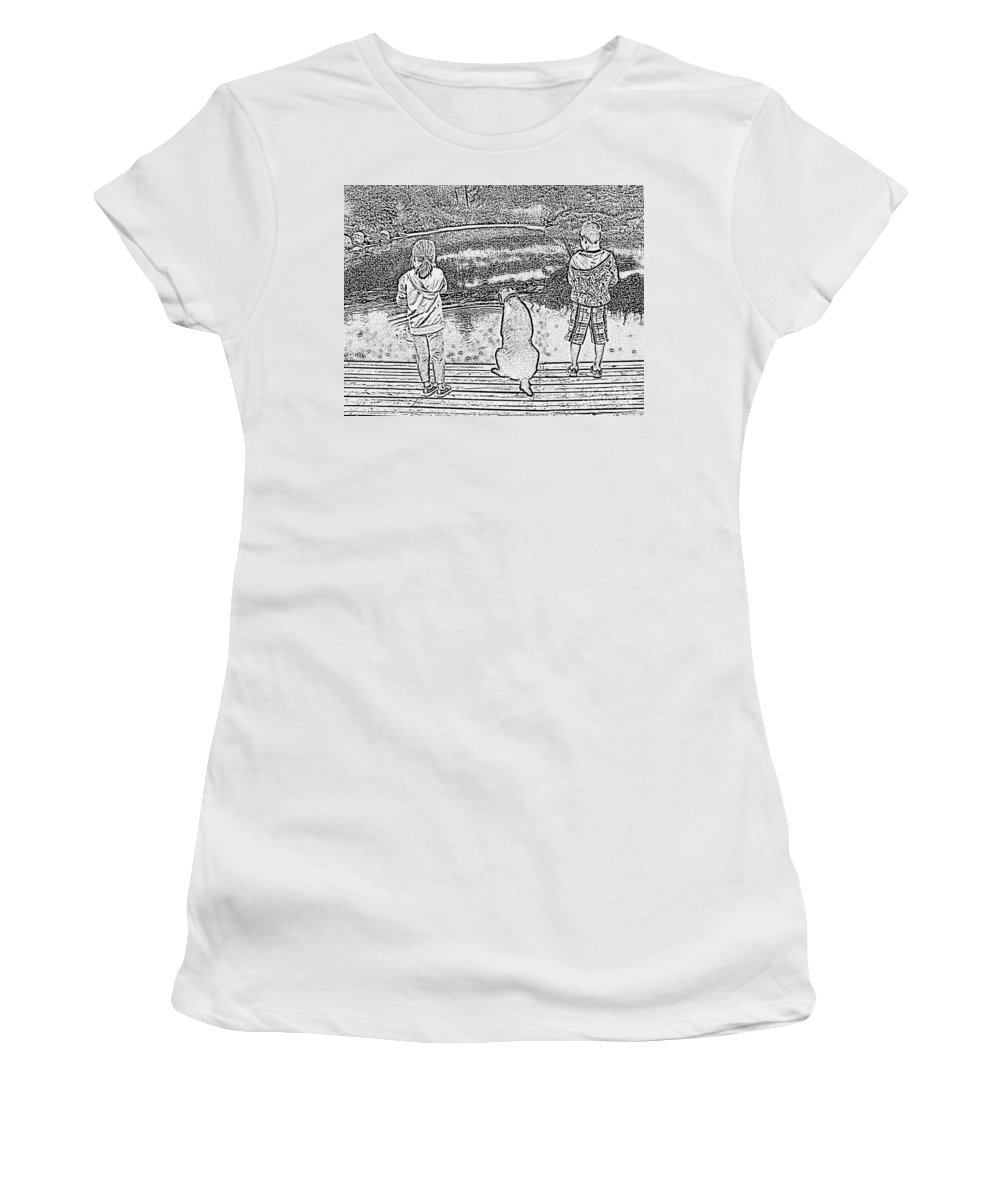 Fishing Buddies Women's T-Shirt (Athletic Fit) featuring the photograph Fishing Buddies by Barbara Griffin