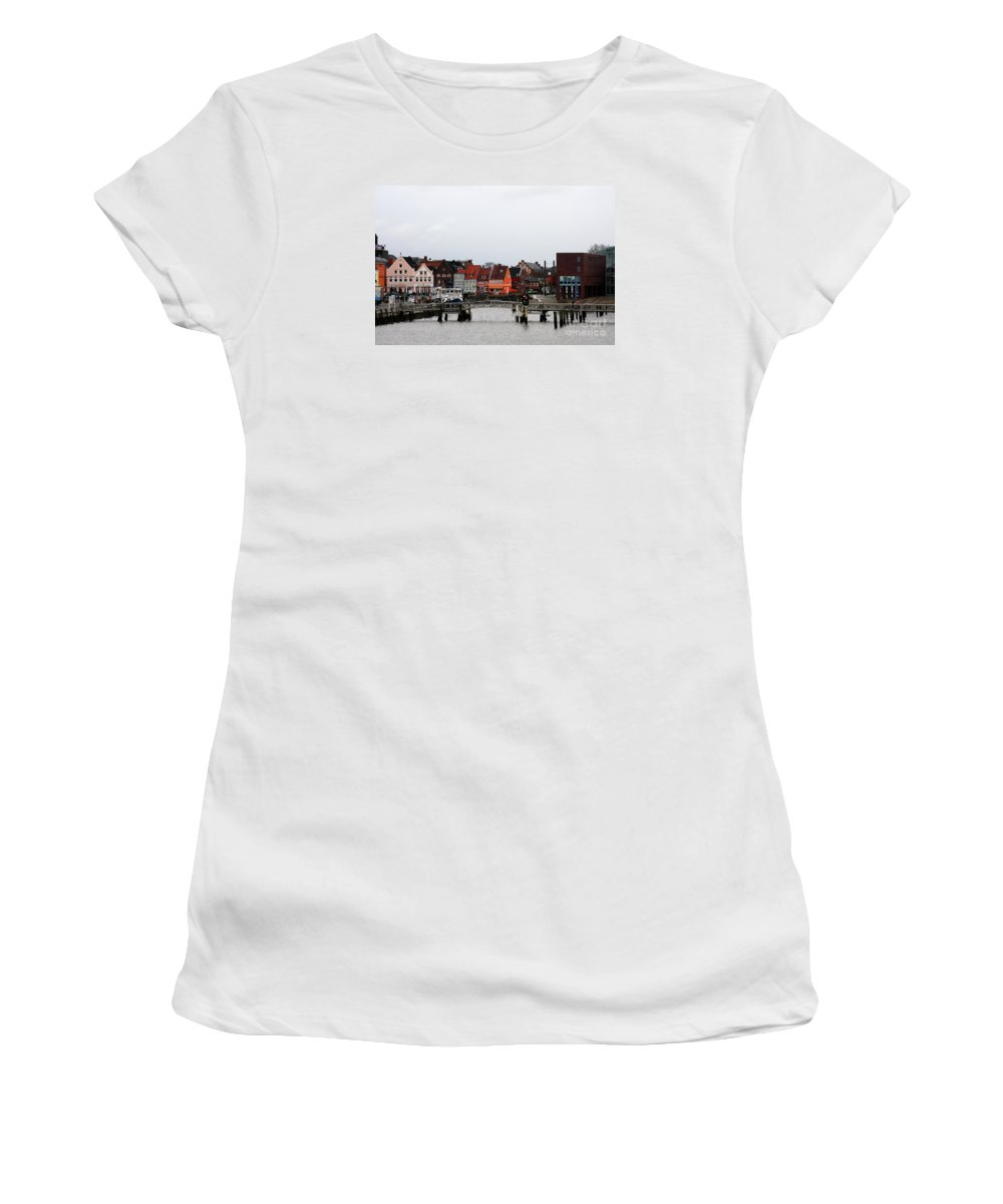 Husum Women's T-Shirt (Athletic Fit) featuring the photograph Fishing Port Husum by Christiane Schulze Art And Photography