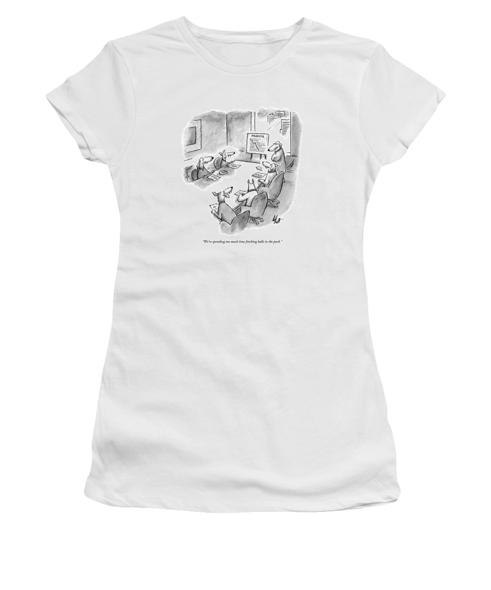 Dogs - Fetching Women's T-Shirt featuring the drawing Five Dogs Sit Around An Office Meeting Table by Frank Cotham