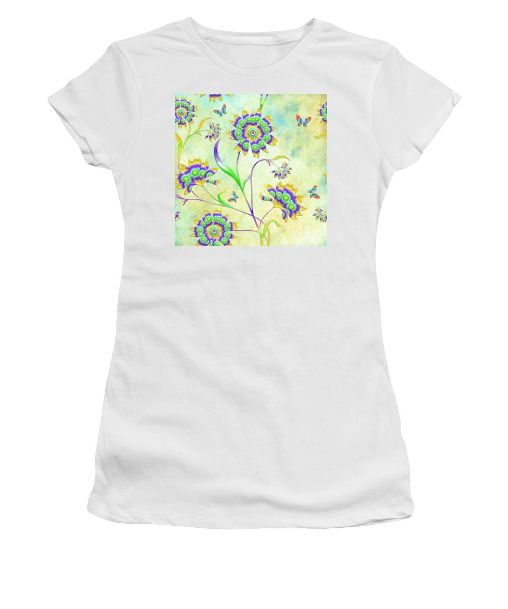 Floral Flirty And Fun Women's T-Shirt (Athletic Fit) featuring the digital art Floral Flirty And Fun by Liane Wright
