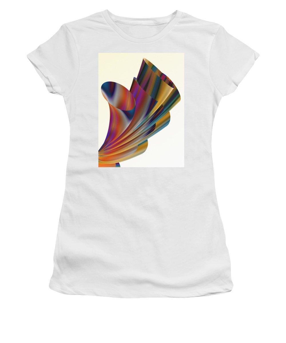 Xenodream Women's T-Shirt featuring the digital art Floral Trumpets by Hakon Soreide