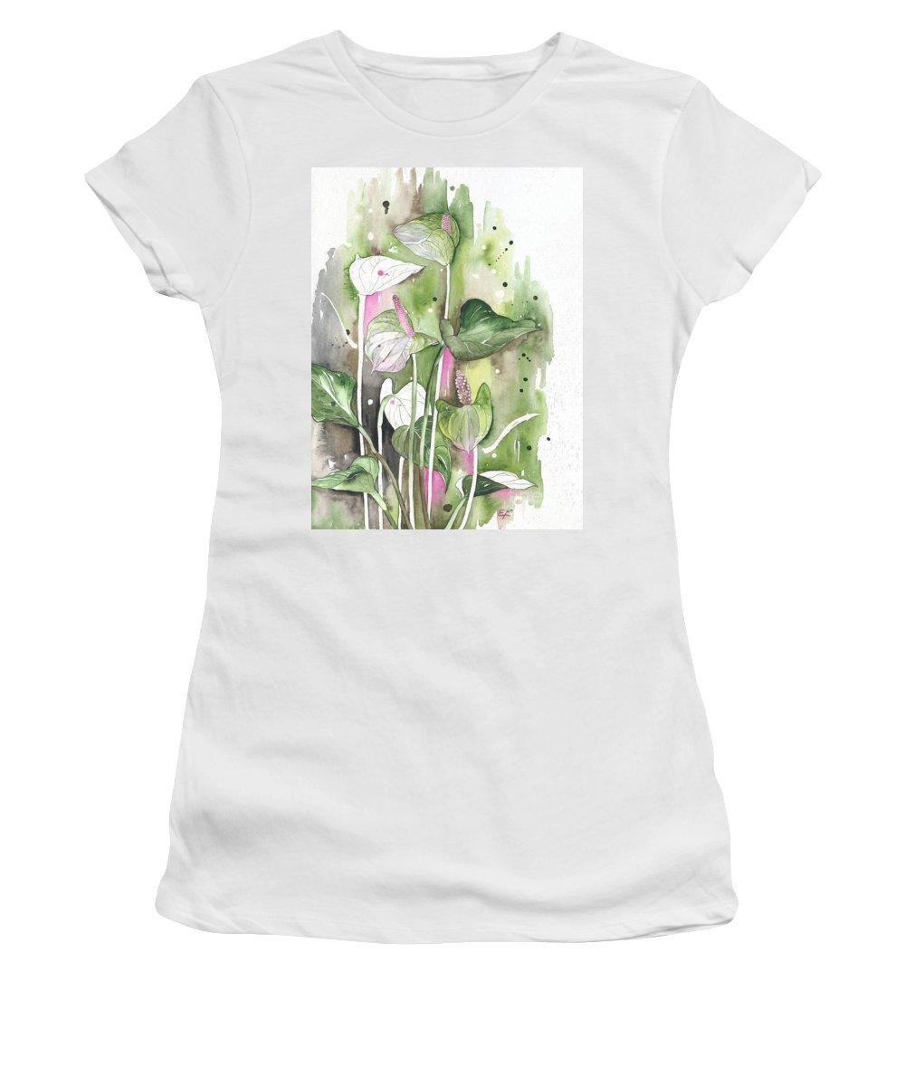 Yakubovich Women's T-Shirt (Athletic Fit) featuring the painting Flower Anthurium 04 Elena Yakubovich by Elena Yakubovich