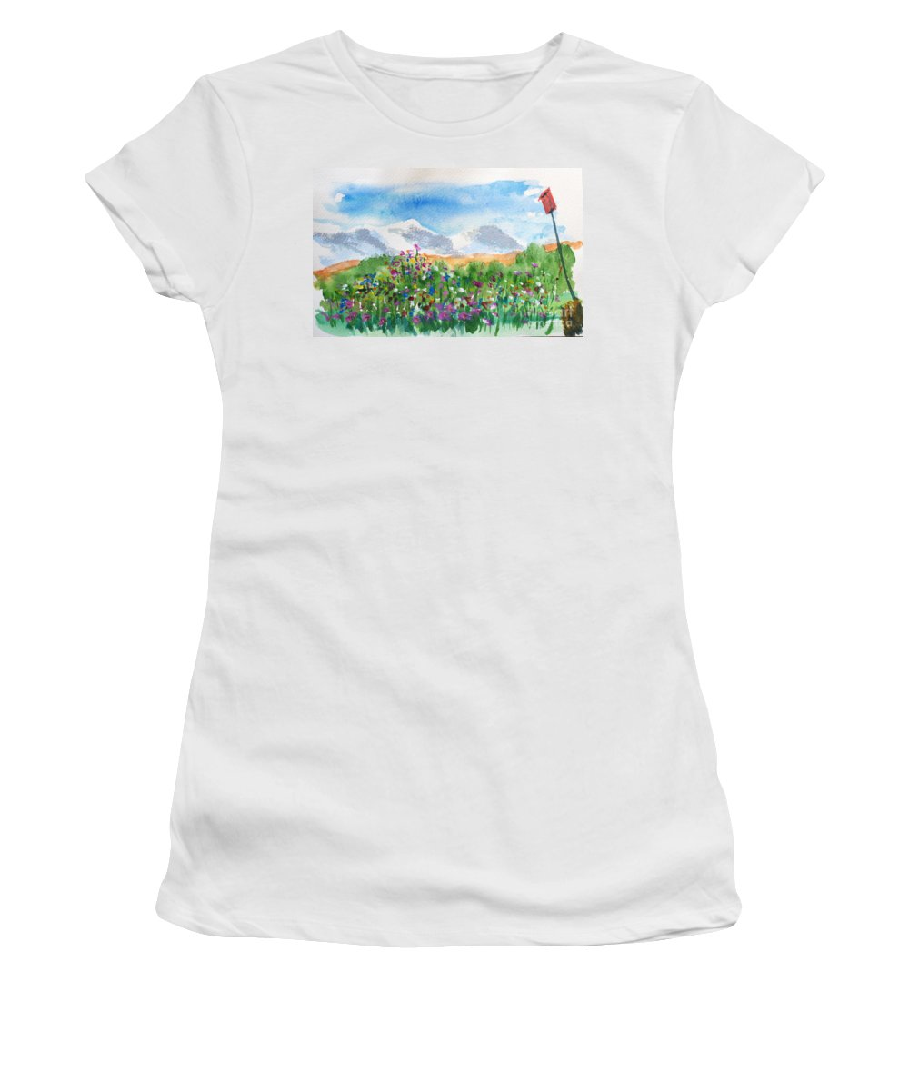 Watercolor Women's T-Shirt (Athletic Fit) featuring the painting Flowers At Wolf Creek by Walt Brodis