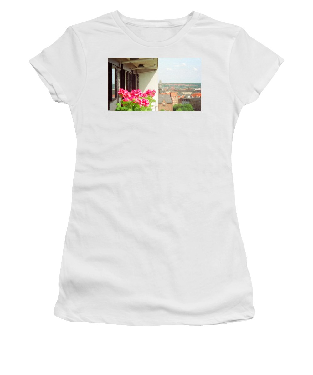 Aarhus Women's T-Shirt featuring the painting Flowers On The Balcony by Jeffrey Kolker