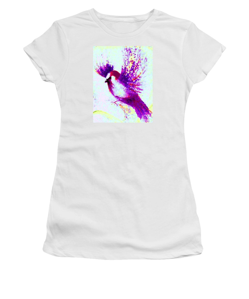 Bird In Flight Women's T-Shirt featuring the painting Flying Free by Hazel Holland