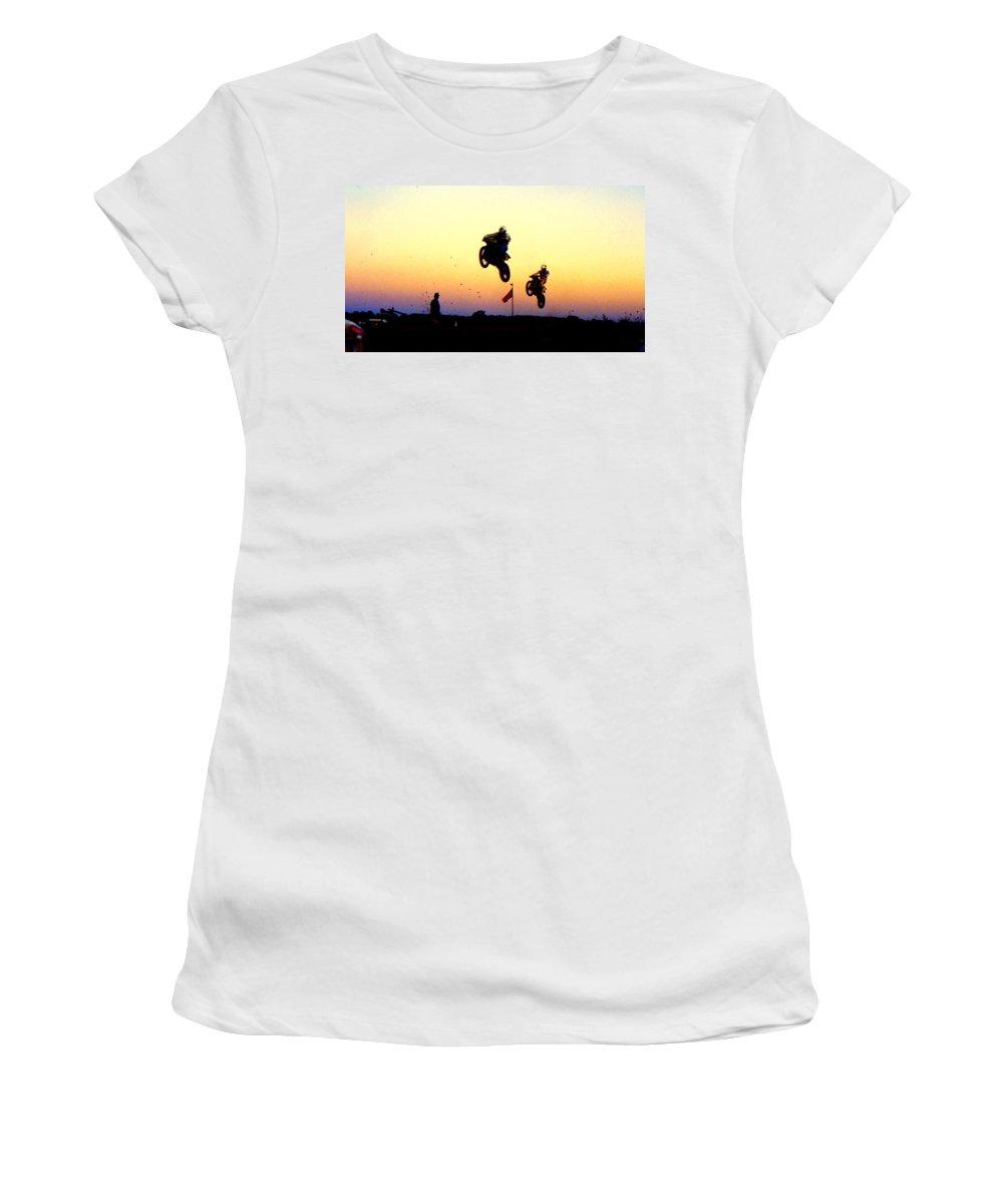 Supercross Women's T-Shirt featuring the photograph Flying Frenchmen by Guy Pettingell