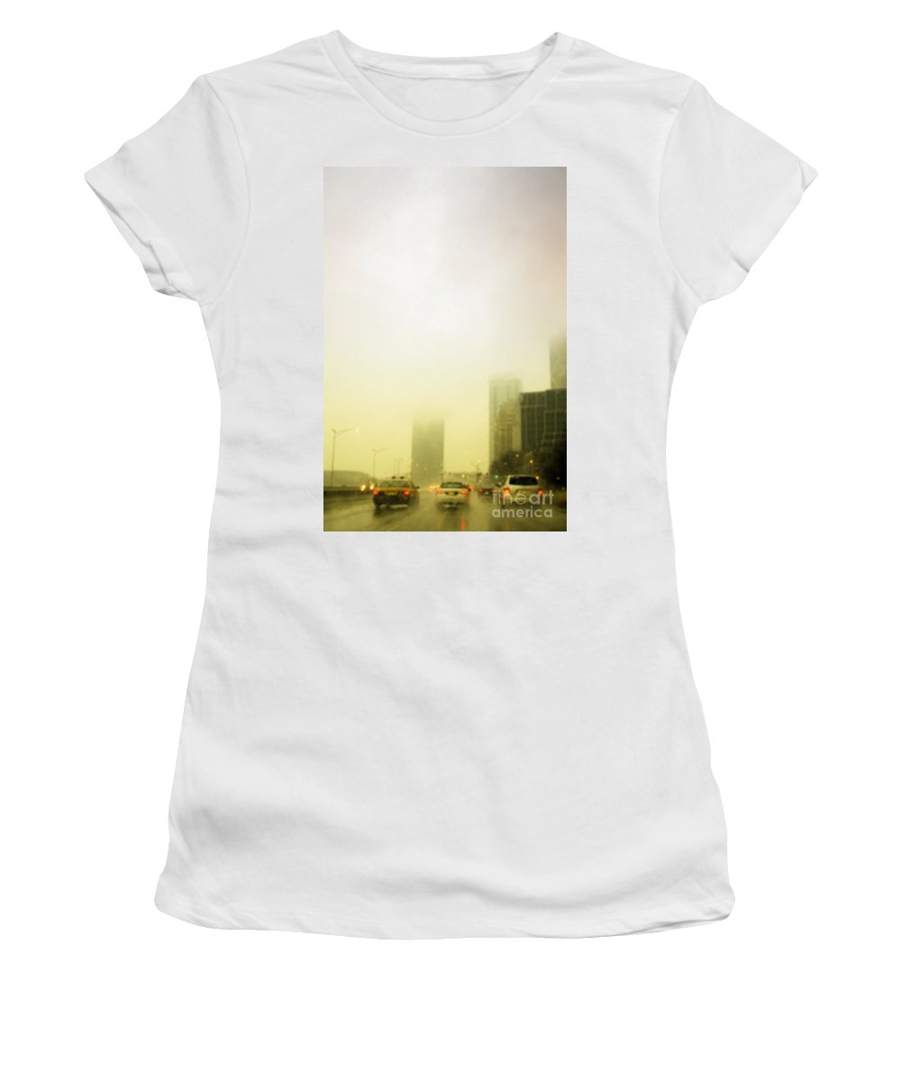 Cars; Traffic; Driving; Auto; Automobile; Automotive; Drive; Modern; City; Cityscape; Road; Outdoor; Outside; Perspective; Street; Transportation; Vehicle; Building; Busy; Chicago; Illinois; Lake Shore Drive; United States; Lights; Breaks; Rain; Rainy; Weather; Fog; Road; Highway; Brakes; Taxi; Cab Women's T-Shirt featuring the photograph Foggy Drive by Margie Hurwich