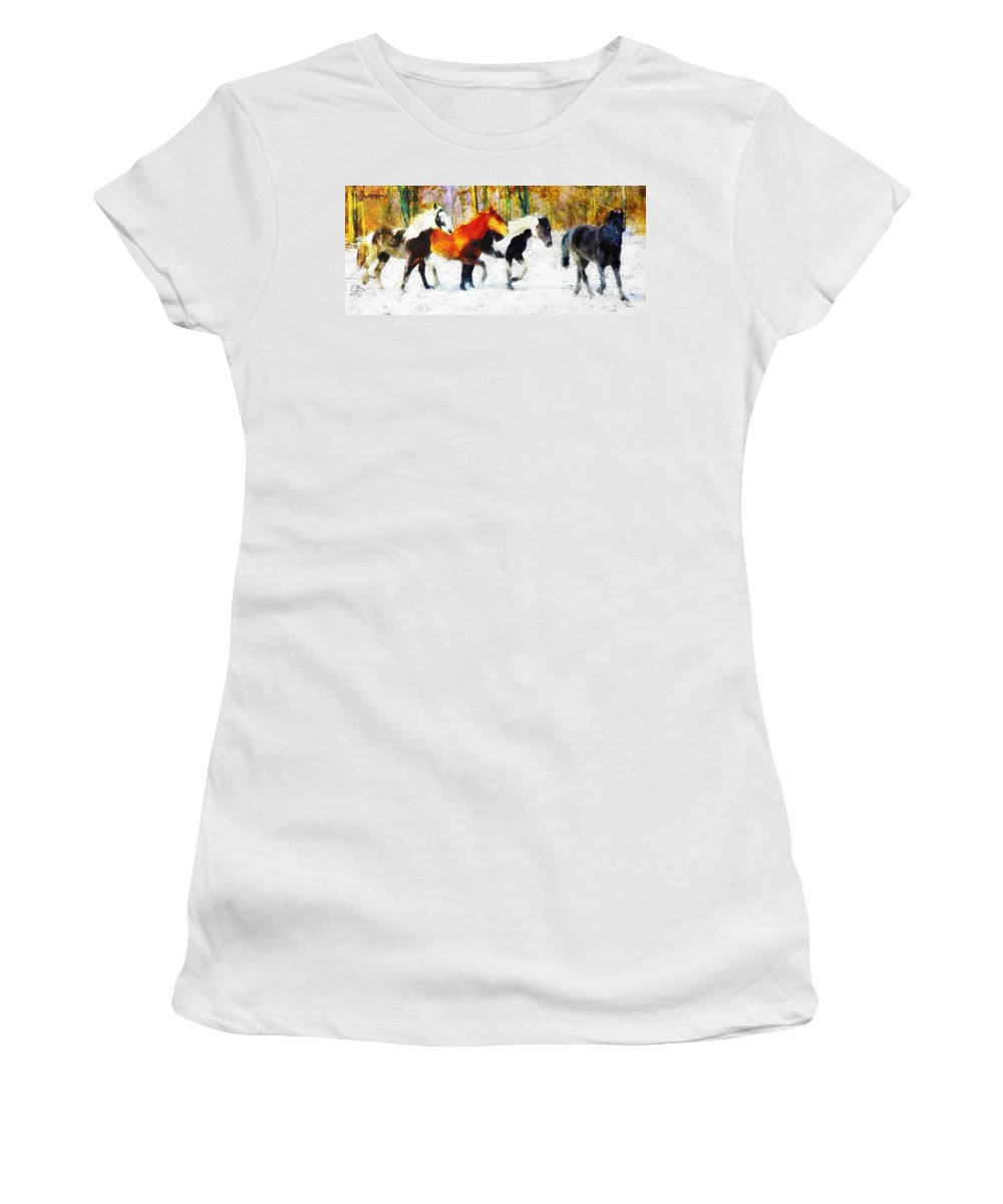 Horses Women's T-Shirt featuring the painting Follow The Leader by Greg Collins