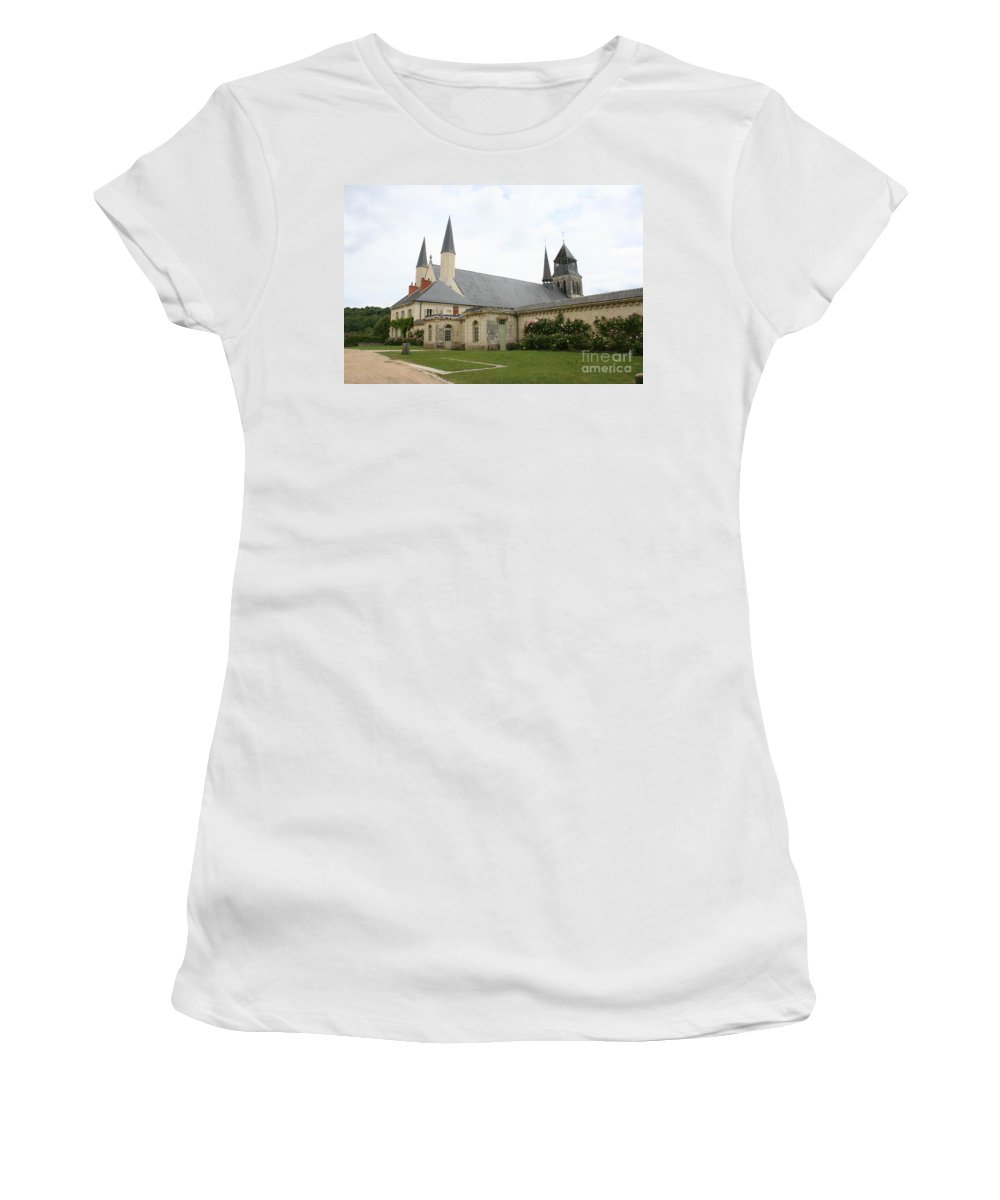 Cloister Women's T-Shirt (Athletic Fit) featuring the photograph Fontevraud Abbey - France by Christiane Schulze Art And Photography