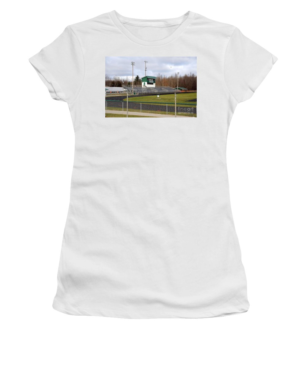 Field Women's T-Shirt featuring the photograph Football Field In Clare Michigan by Terri Gostola