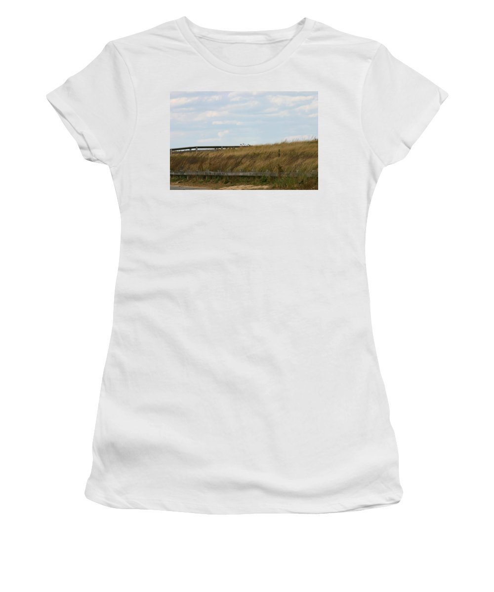 Footbridge Through The Dunes Women's T-Shirt (Athletic Fit) featuring the photograph Footbridge Through The Dunes by Denyse Duhaime
