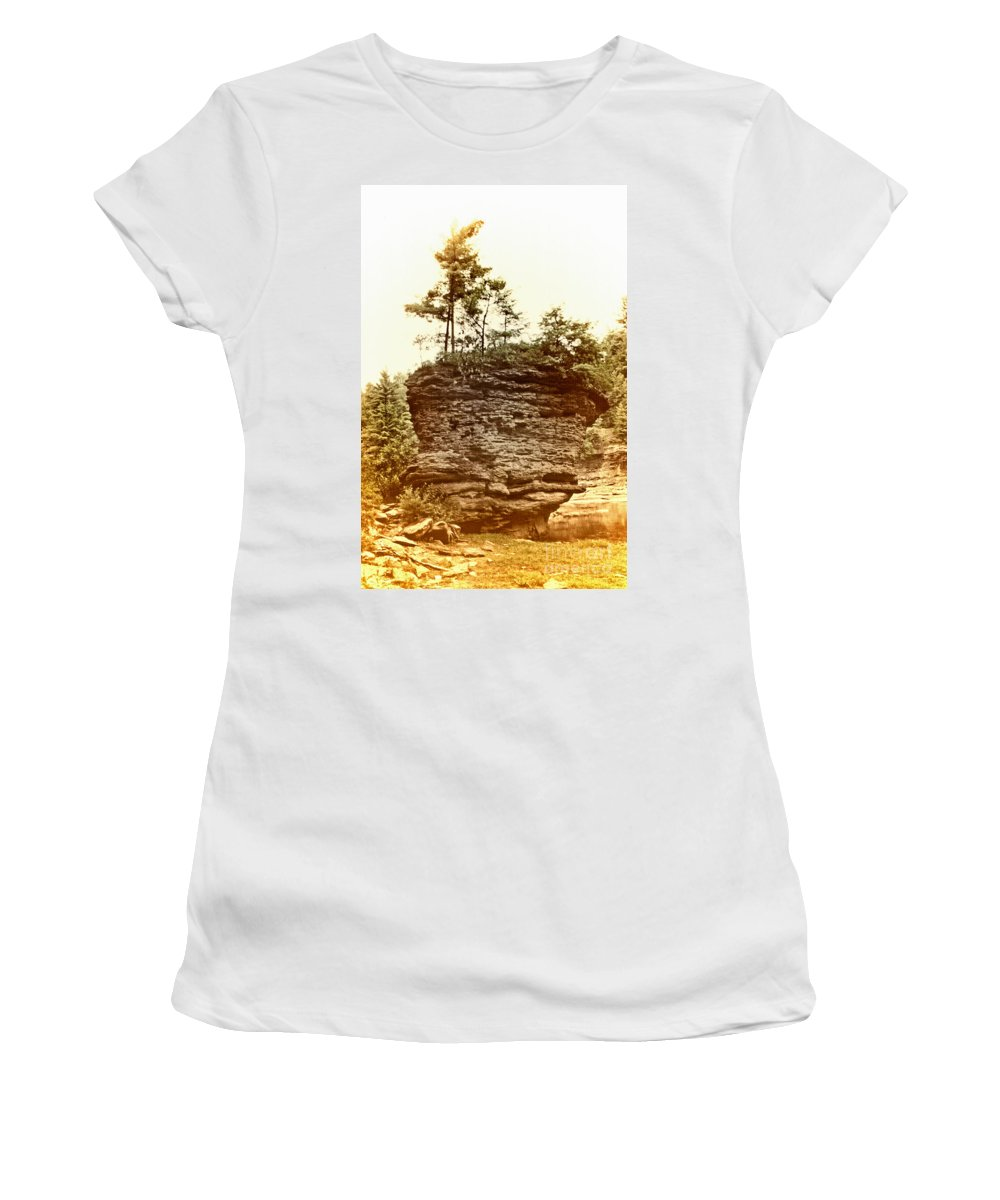 Scenic Tours Women's T-Shirt (Athletic Fit) featuring the photograph Forest On A Rock by Skip Willits