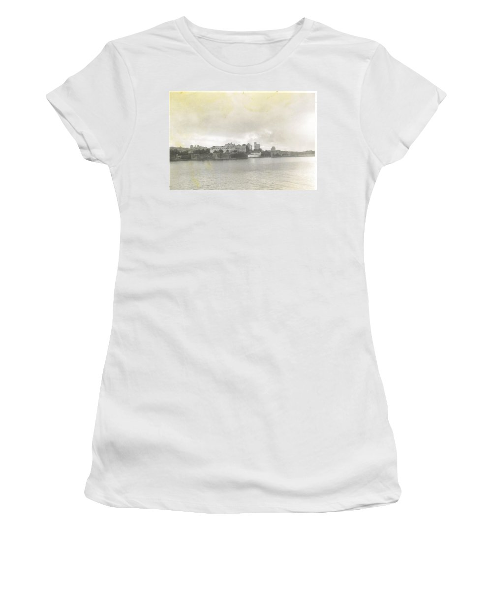 What We Saw Sailing Into Port Of Puerto Rico. Women's T-Shirt featuring the photograph Fort In Sky Line Of San Juan Puerto Rico by Robert Floyd