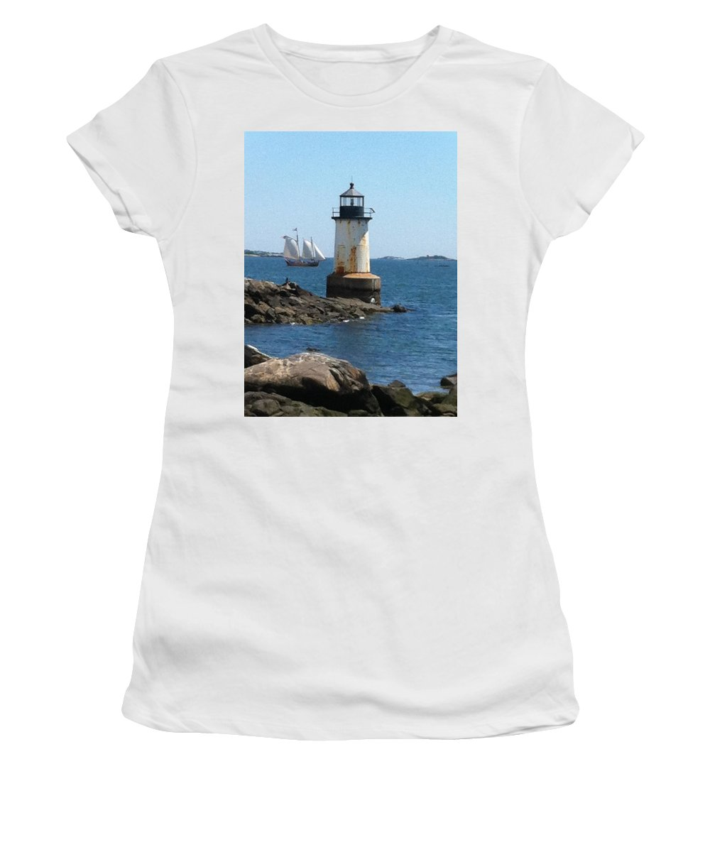 Fort Pickering Women's T-Shirt featuring the photograph Fort Pickering Light by Denyse Duhaime