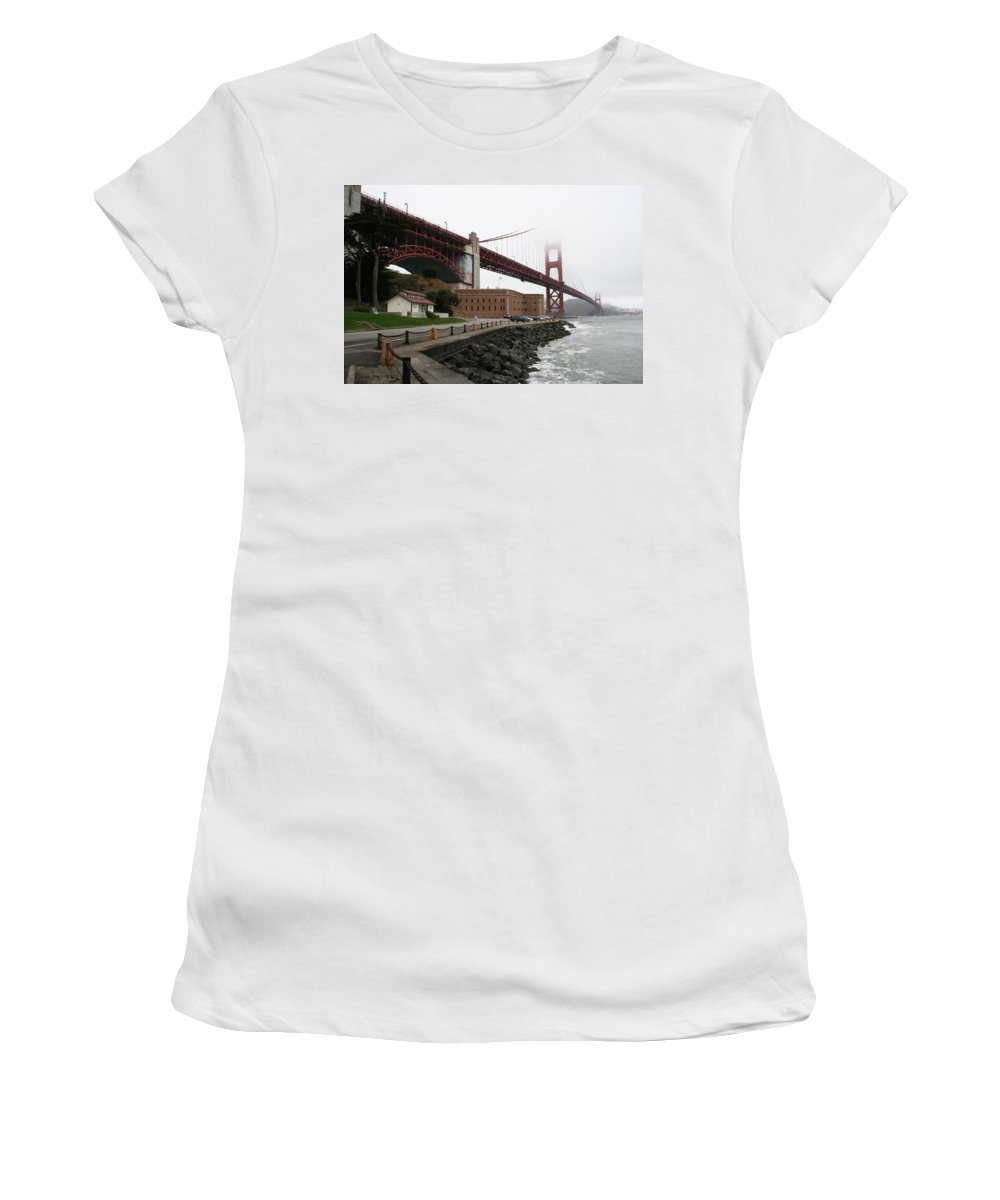Bridge Women's T-Shirt (Athletic Fit) featuring the photograph Fort Point And Golden Gate by Christiane Schulze Art And Photography