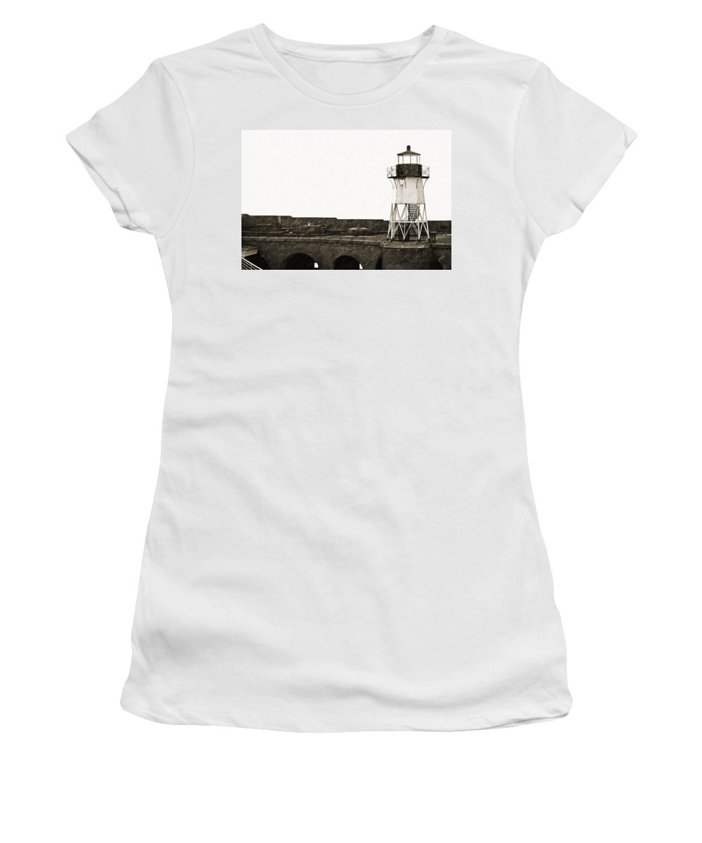 Brick Women's T-Shirt (Athletic Fit) featuring the photograph Fort Point Lighthouse by Holly Blunkall