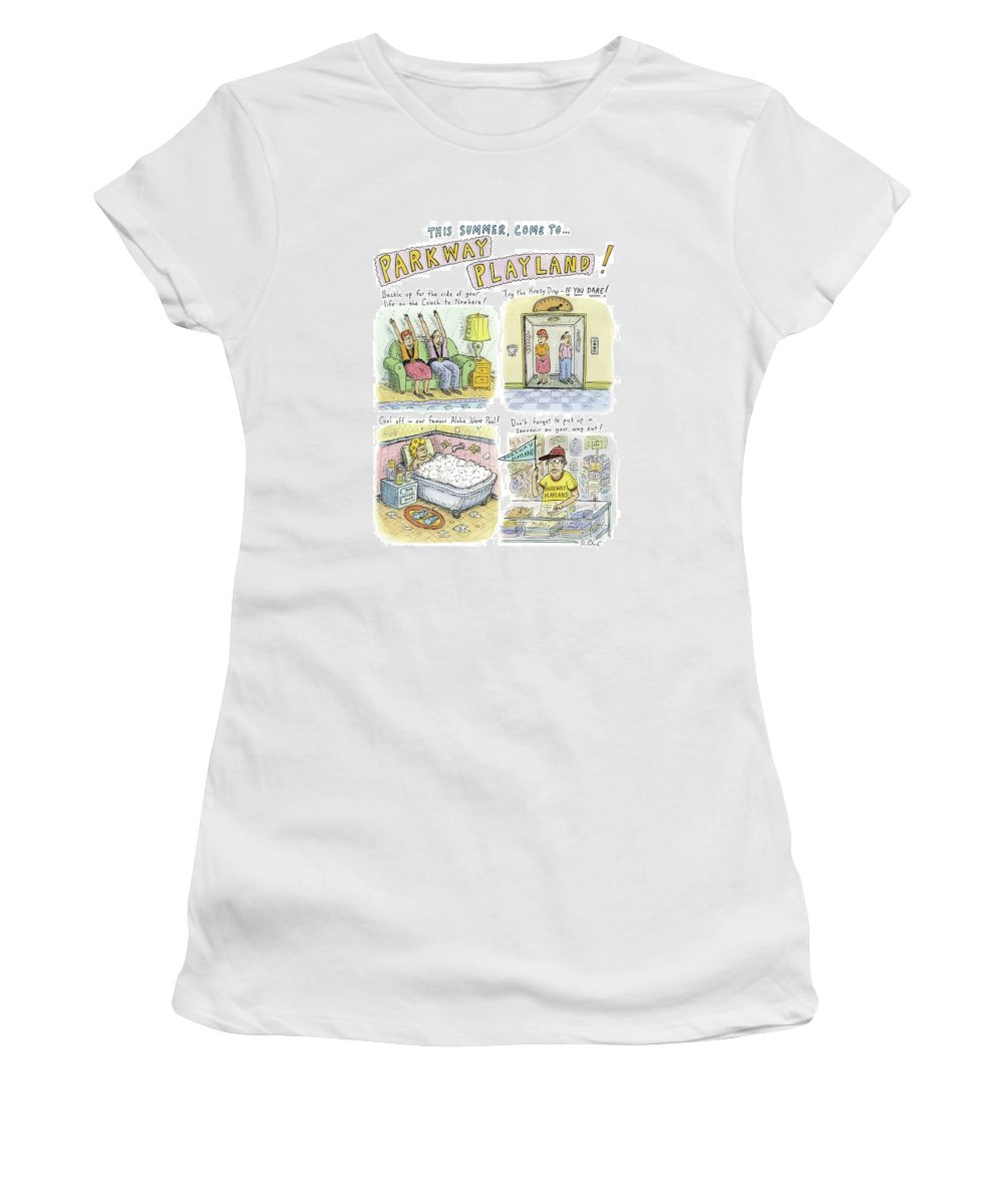 Retired Women's T-Shirt featuring the drawing Four Panels Advertise Parkway Playland by Roz Chast