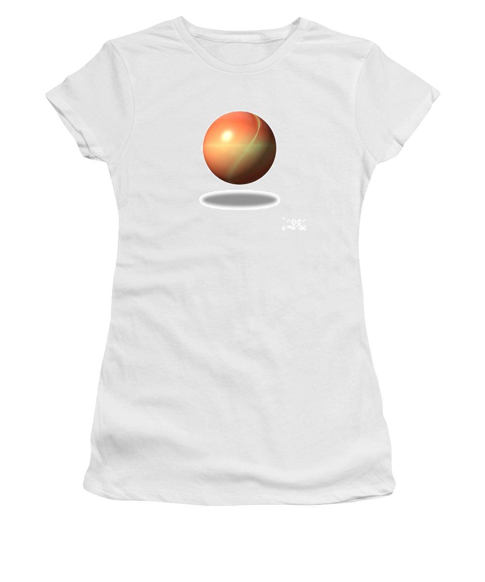 Orange Women's T-Shirt featuring the digital art Fractal Gloabe by Henrik Lehnerer