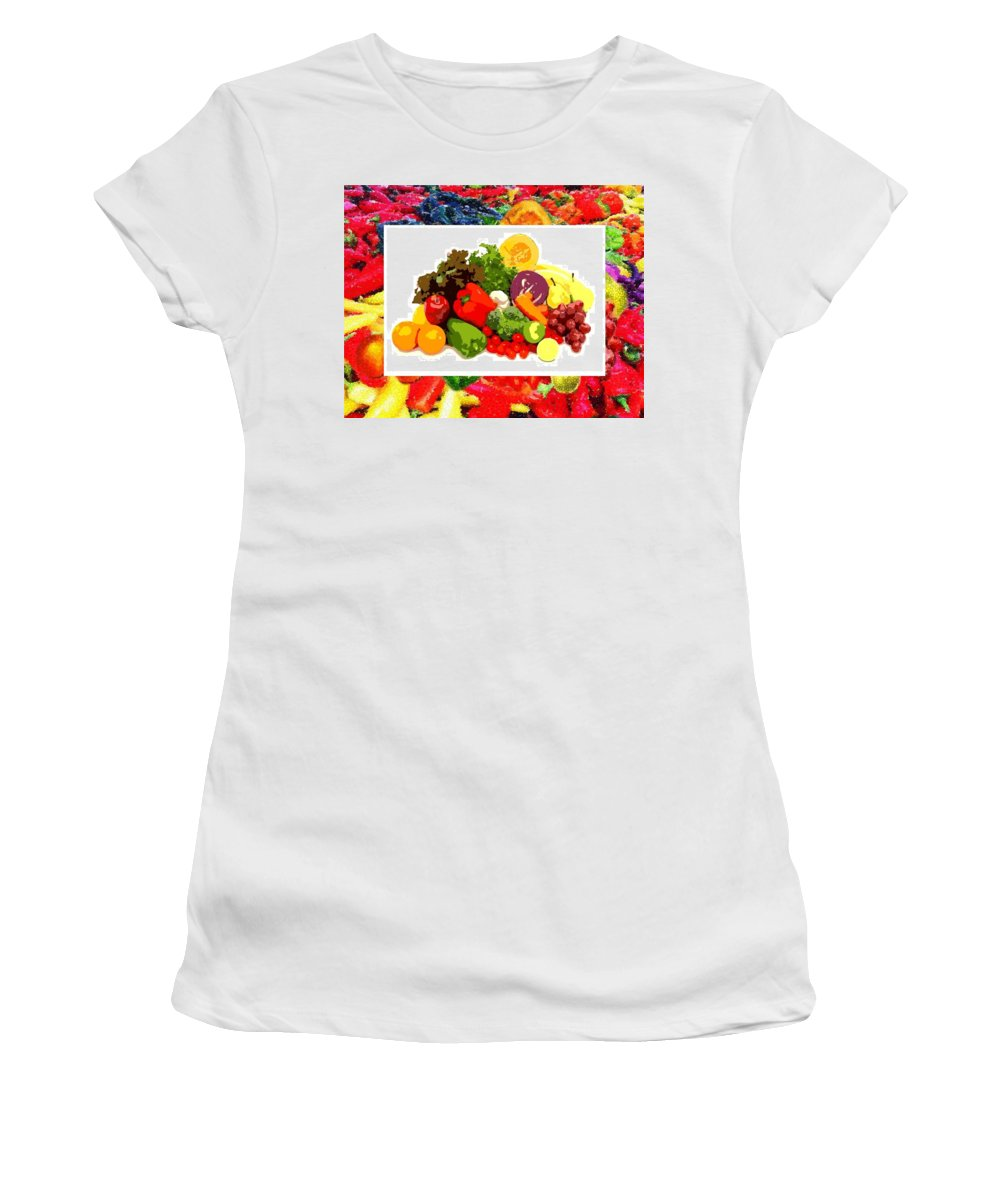 Framed Veggies Women's T-Shirt featuring the digital art Framed Veggies by Catherine Lott