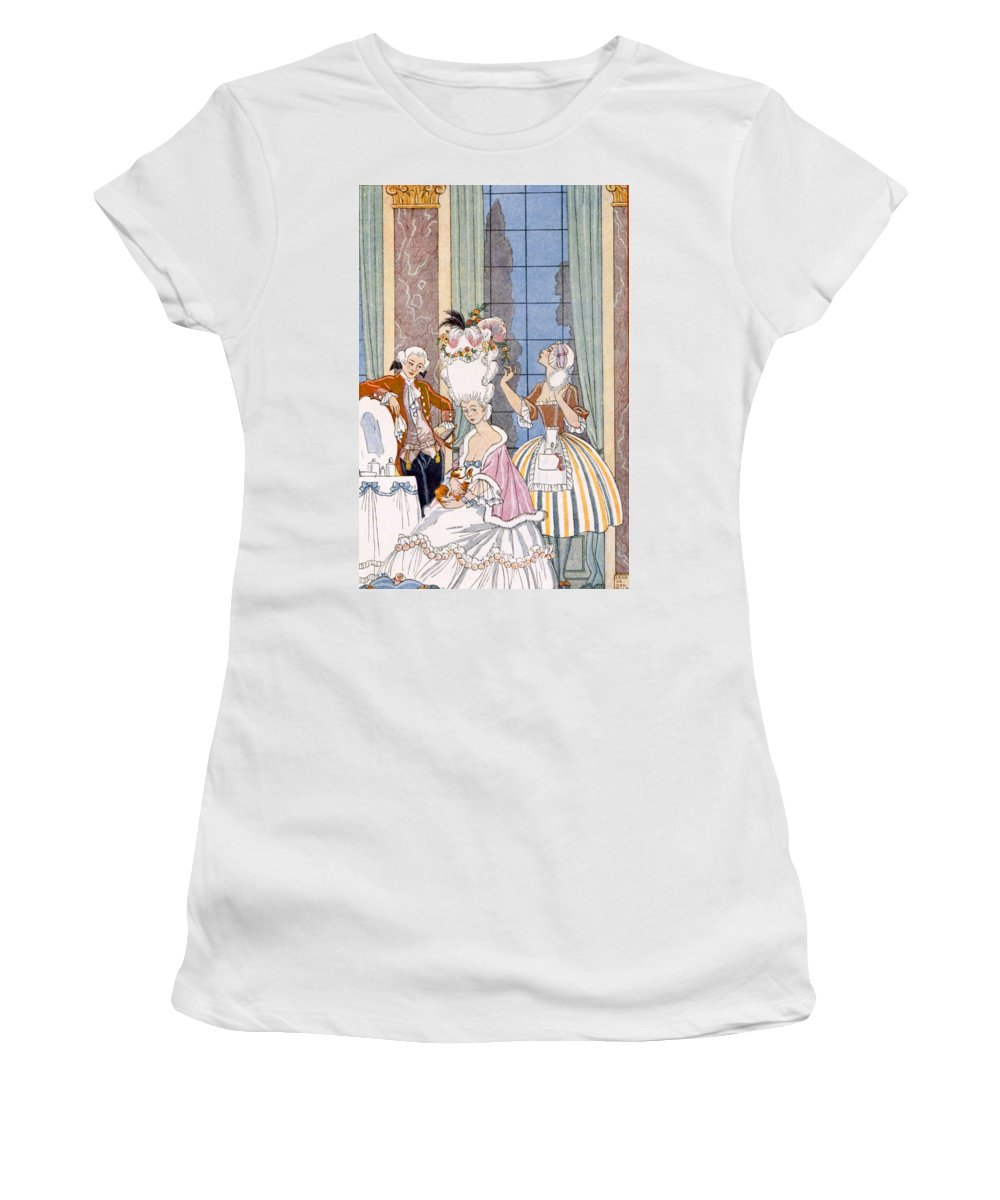Stencil Women's T-Shirt (Athletic Fit) featuring the painting France In The 18th Century by Georges Barbier