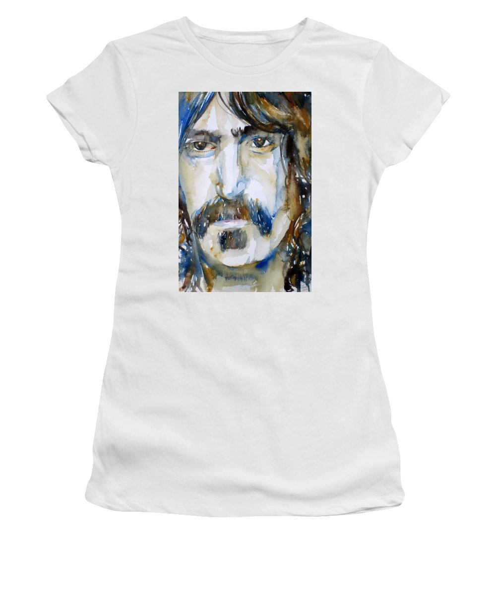 Frank Women's T-Shirt featuring the painting Frank Zappa Watercolor Portrait.2 by Fabrizio Cassetta